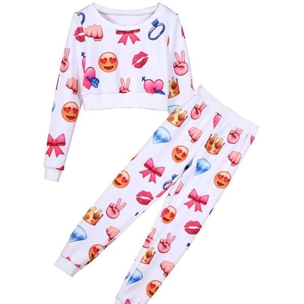 Elfin Women's Emoji Joggers carton printed Tracksuit ($25) ❤ liked on Polyvore featuring activewear, track suit, white track suit and white tracksuit