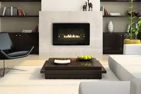 linear gas fireplace  - bookshelves on side