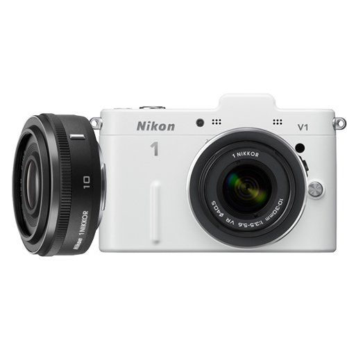 Nikon 1 V1 10.1 MP HD Digital Camera with 10-30mm VR 1 NIKKOR Lens (White). A revolutionary new imaging system from Nikon, harmoniuously designed from the ground up. The Nikon V1 is faster than you are with the world's fastest autofocus among cameras with AF. Advanced Photography Features that let you become all the photographer you want to be. Command your creativity with the simultaneous capture of still and Full HD video. Bring your images to life with Nikon's new Motion Snapshot.