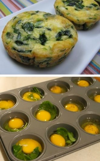 Spinach and Egg in Muffin tins-you could also add mushroom, onion, cheese etc... by kisiamycha89