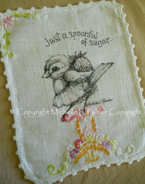 Original Pen and Ink Illustration on Antique Vintage Linen Michelle Palmer Sparrow Chick Bird Strawberry