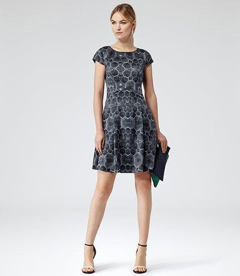 Baker Night Sky Tortoise Print Silk Dress - REISS