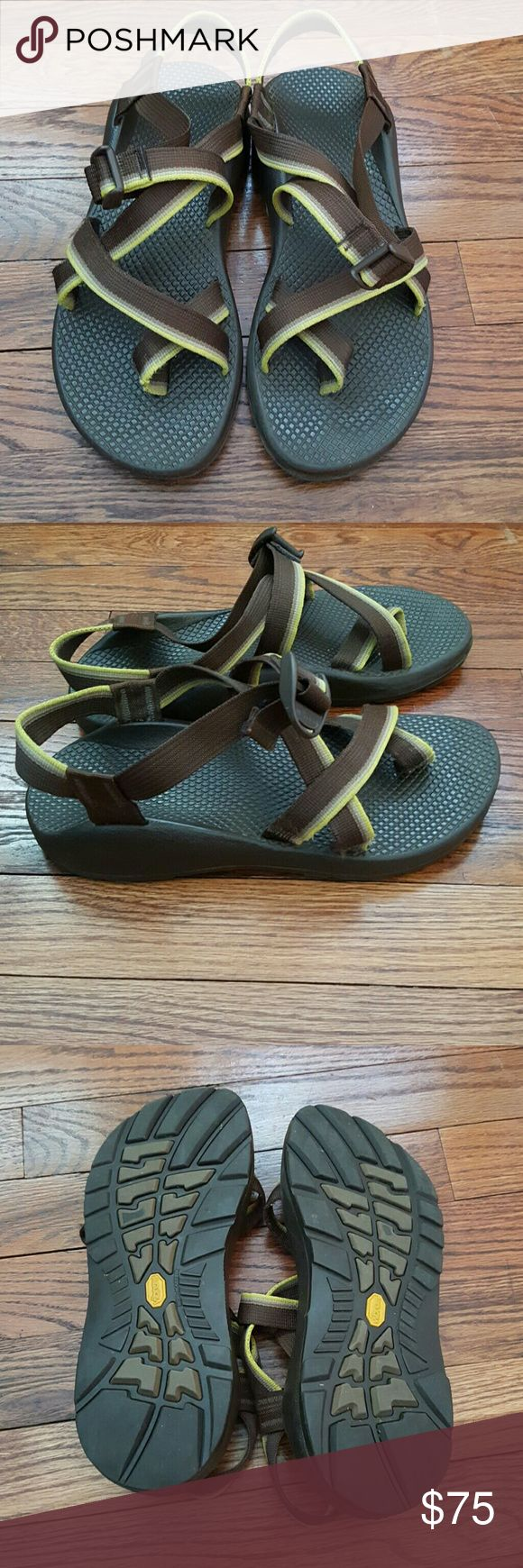 Chaco Sandals Yellow and Brown chaco sandals! No flaws! Will trade for different color. Chaco Shoes Sandals