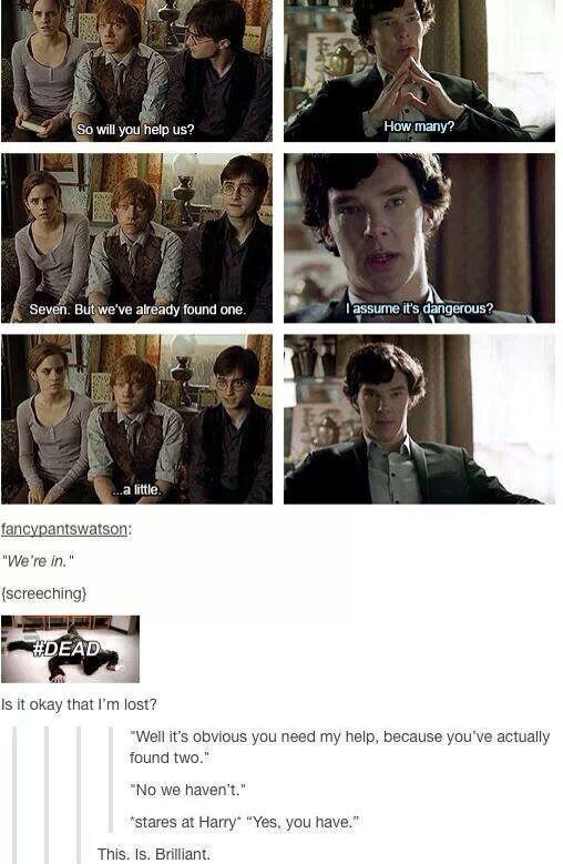 When Sherlock and Harry potter collide the fandoms die.