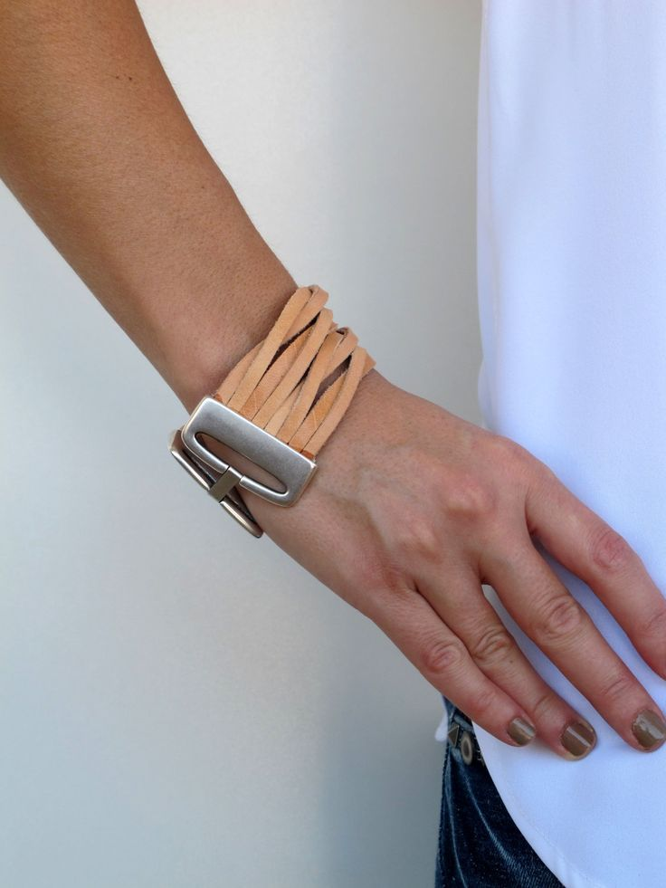Leather Cuff, Bracelet in 4 colors, with 24k gold or silver plated. LC02