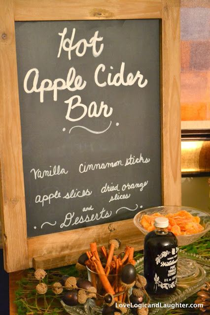 Hot Apple Cider Bar: Can also add in lemon, salted caramel or a variety of syrups such as cinnamon, caramel, vanilla, pumpkin spice...