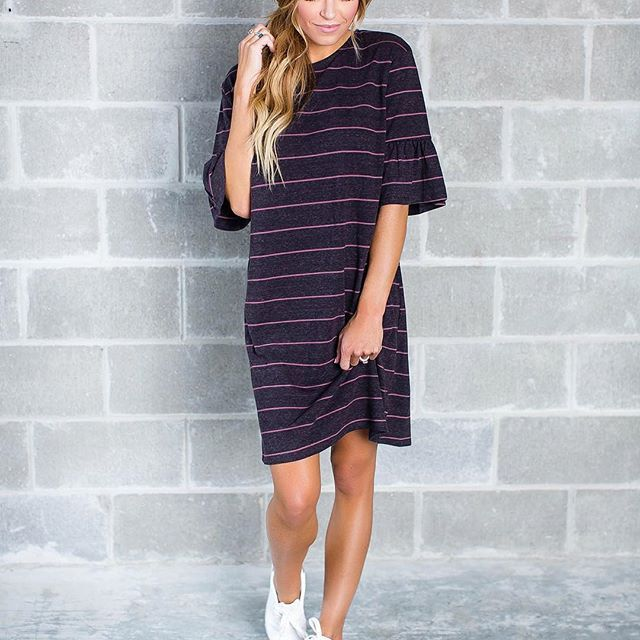 Dress it down styles are #TRENDING this fall 🍂 Don't miss our NEW Dark Purple Striped Tunic Dress for just $32 || #dottiecouture #newarrivals #ootd #styleinspo #falltrend #lookforless