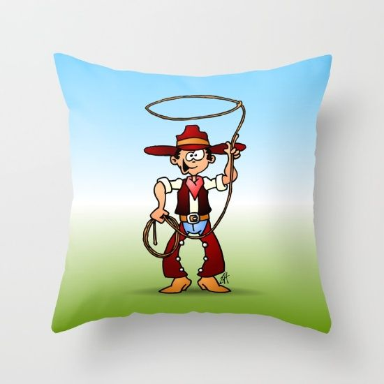Cowboy with a lasso throw pillow. #Society6 #Cardvibes #Tekenaartje