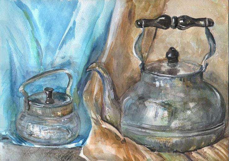 Kettle and  the cup, watercolor