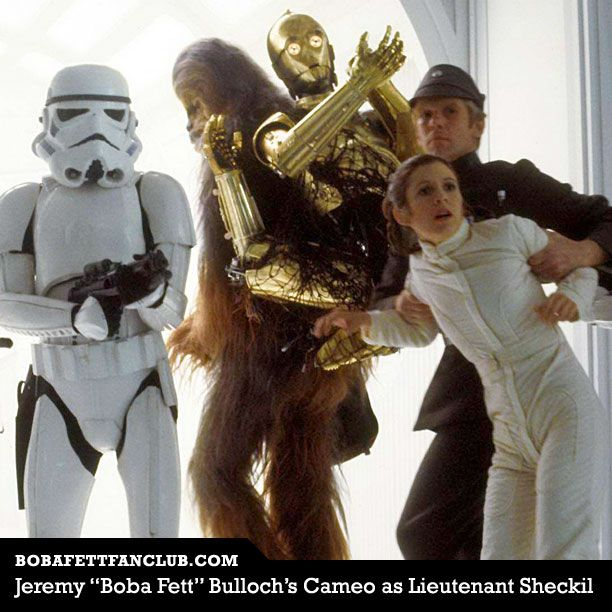 Jeremy Bulloch portrayed the original #BobaFett. He also had a cameo as Lieutenant Sheckil, the Imperial Officer in #TheEmpireStrikesBack who uses #PrincessLeia as a human shield. For more trivia about Jeremy Bulloch, see http://www.bobafettfanclub.com/fettpedia/Jeremy_Bulloch