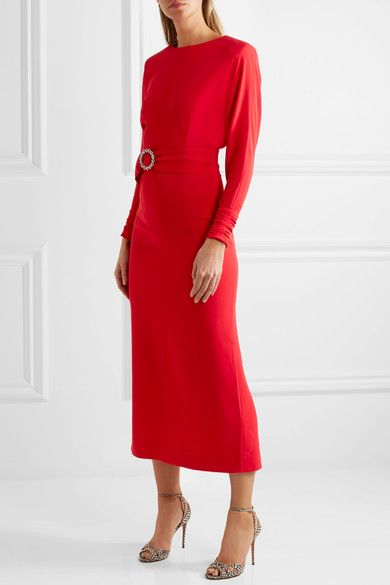 Alessandra Rich - Embellished Belted Cady Dress - Red - IT