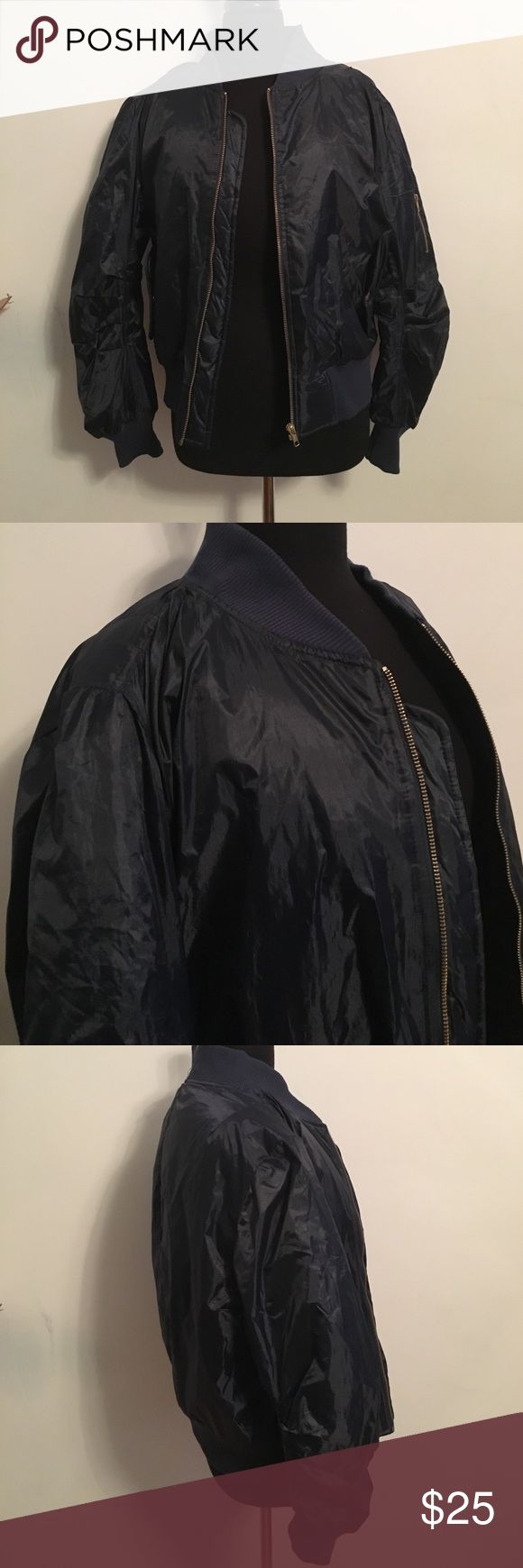 Influence Navy Bomber Jacket Chest: 42 inches Length: 23 inches Slim fit Influence Jackets & Coats Bomber & Varsity