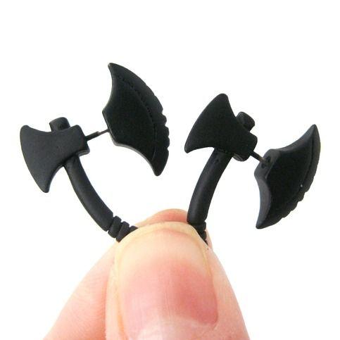 Axe Shaped Uni Fake Gauge Plug Stud Earrings In Black From Dotoly
