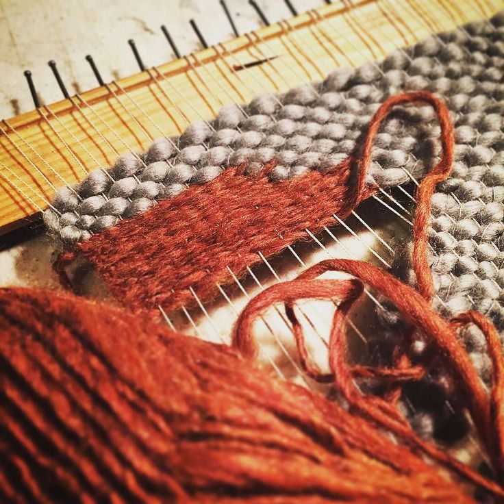 While -E is at the guild I'm in the studio weaving some new tales #hunterandthistledecor #wip #yarn #weave -K