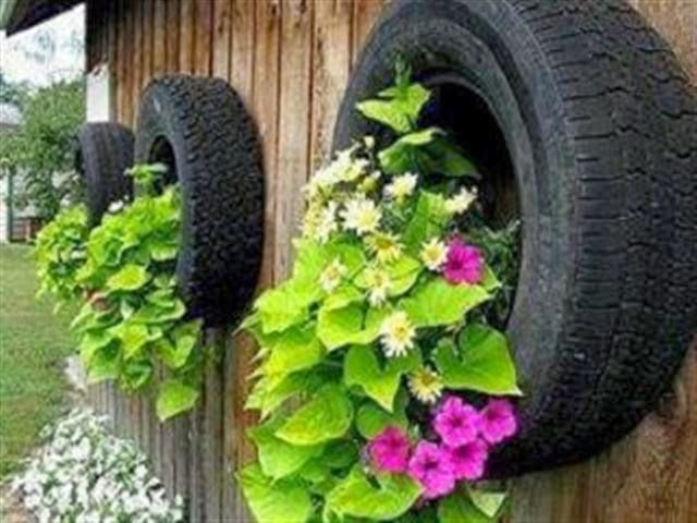 garden decoration ideas with old car tires wall decor flowers garden ideas old tires