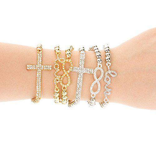 Heiße Mode Damen Strass Kreuz Liebe Perlen Armband Geschenk