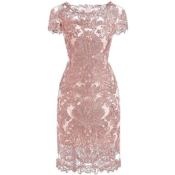 Pink Round Neck Short Sleeve Bodycon Lace Dress ❤ liked on Polyvore featuring dresses, lace body con dress, brown dresses, lace dress, brown bodycon dress and bodycon dress