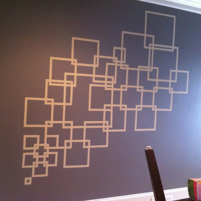 Painted This On My Kitchen Wall, Neutral Toned Stripes, Grey Wall. Used  Frog Tape