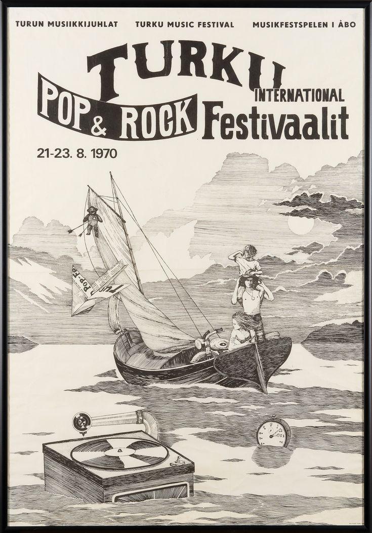 "Affisch ""Turku International Pop&Rock festivaalit"", Polytypos Åbo, 1970."