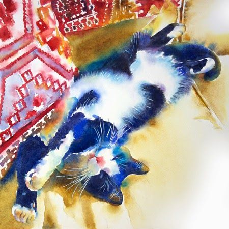 chrome heart logo Kathleen Ballard Watercolor New painting of Archie