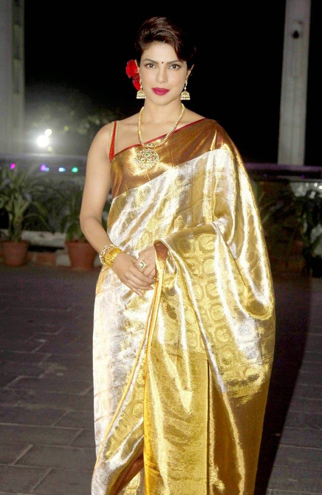 Priynka Chopra in Silk Saree at Uday Shirin Wedding Reception