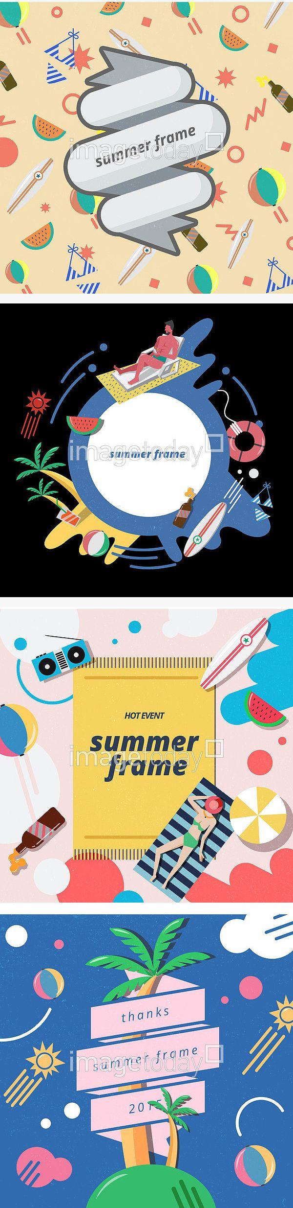 일러스트 PSD 계절 공 리본 맥주 백그라운드 비키니 빈티지 서핑보드 선베드 수박 여름 여름방학 여행 영어 야자수 엘리먼트 카피스페이스 컨셉…
