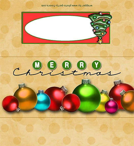 Christmas Ornaments Free Printable 1 55 Oz Candy Bar Wrapper Ready