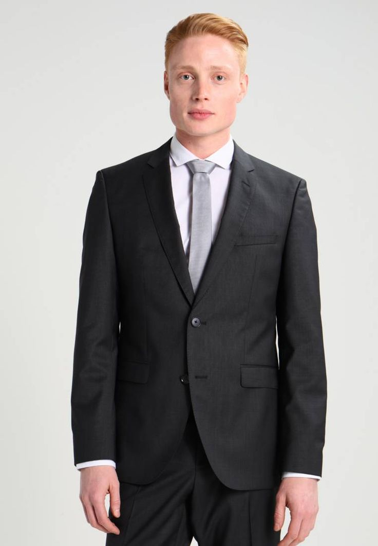 """HUGO. Suit - charcoal. Outer fabric material:100% wool. Pattern:marl. Care instructions:Dry clean only. Sleeve length:long,26.5 """" (Size 40R). Back width:17.5 """" (Size 40R). jacket length:30.0 """" (Size 50). outer leg length..."""