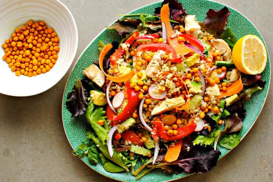 Loaded Cauliflower Couscous Salad with Roasted Turmeric Chickpeas