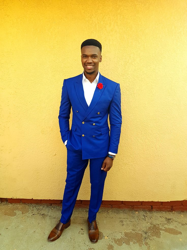 Tailored Royal Blue Double Breasted Suit. Gold Buttons. By Barrytone.