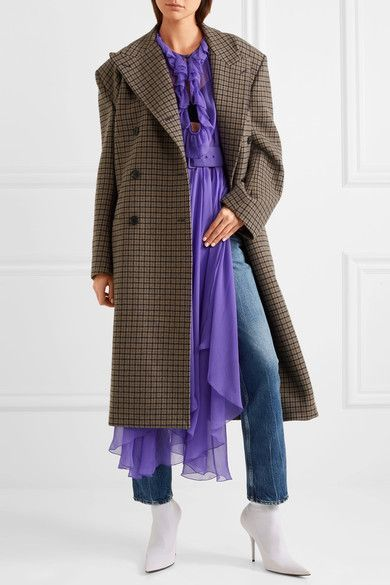 BALENCIAGA Belted asymmetric purple silk-mousseline blouse