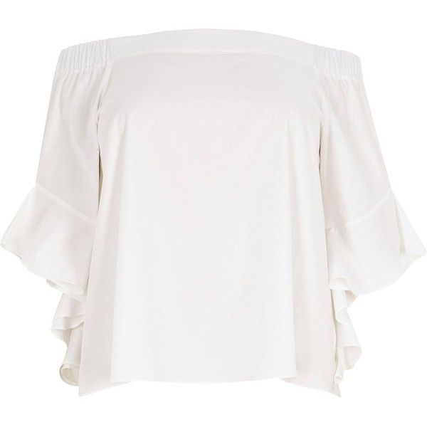 River Island Plus white frill sleeve bardot top ($60) ❤ liked on Polyvore featuring tops, bardot / cold shoulder tops, white, women, white cold shoulder top, women's plus size tops, plus size cold shoulder tops, white open shoulder top and womens plus tops
