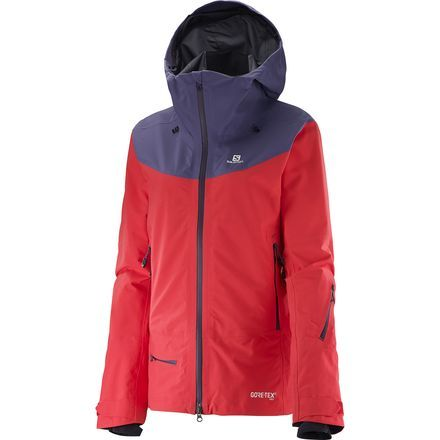 Shred through the storm and seek out bottomless powder all over the mountain in the Salomon Women's QST Charge GTX 3L Jacket. The QST features a 3-layer Gore-Tex construction, which means the jacket is not only highly durable and wind-resistant, but also fully waterproof and breathable to ensure maximum protection against rain, sleet, and snow.