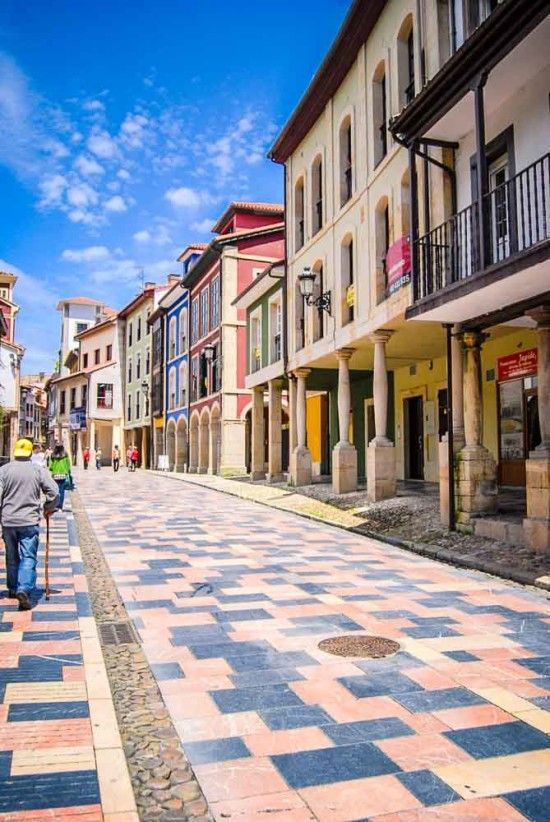Spain Travel Inspiration - Avilés, streets in Old Quarter, Asturias. Spain