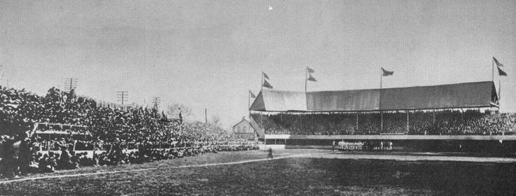 This is the scene of the first-game triumph with 10,000 fans packed into the wooden stands of Bennett Park where the Tigers scored 10 runs in the ninth inning to defeat Milwaukee, 14-13, in their American League debut on April 25, 1901.  Detroit, Michigan.