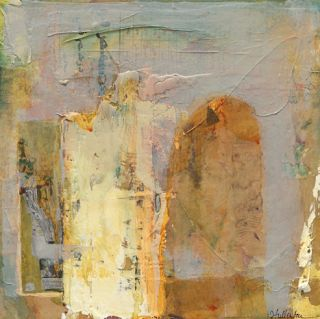 "Daily Painters Abstract Gallery: Contemporary Abstract Mixed Media Painting ""Veiled Answers"" by Intuitive Artist Joan Fullerton"