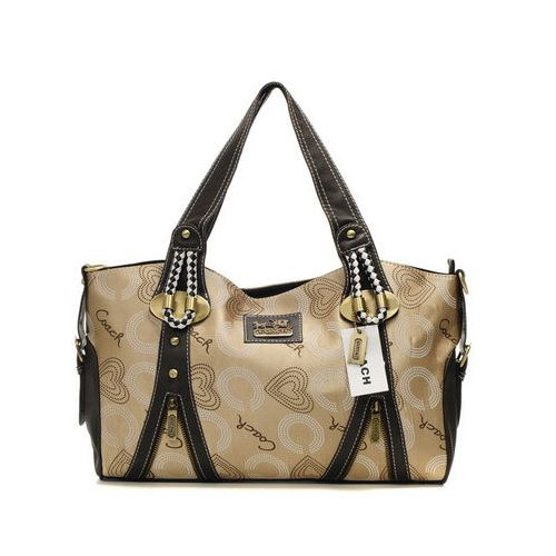 Cheap And Fashion Coach Logo In Monogram Medium Khaki Totes DNR Are