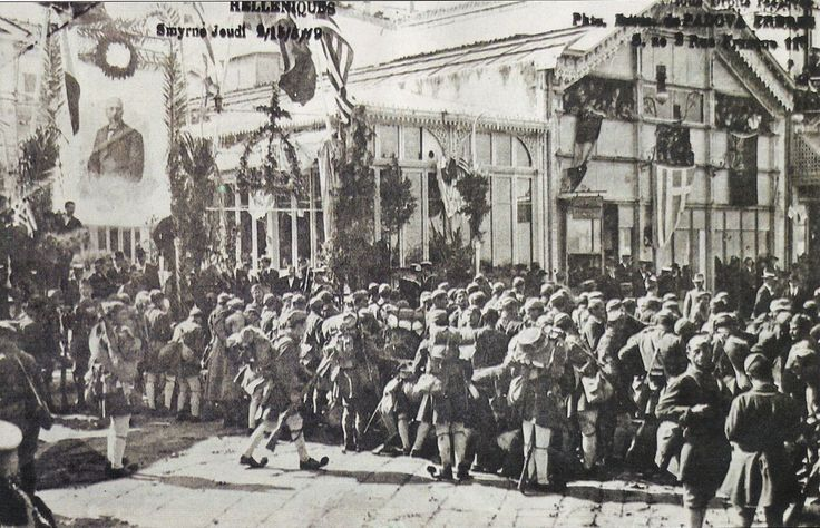 Greek Evzone soldiers stationed in Smyrna (Izmir) as the Greek population welcomes them into the city on 15 May 1919.