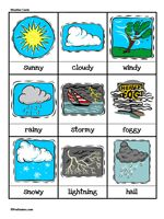 Here's a set of weather cards for graphing and calendar activities. Can also be used for a memory game.