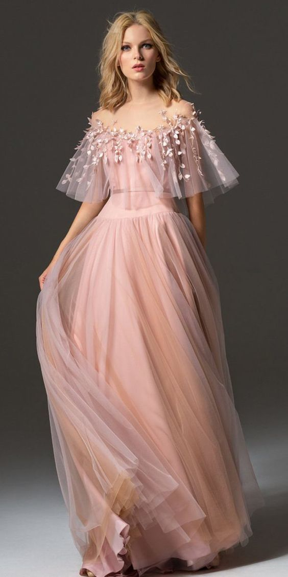Romantic Tulle Jewel Neckline Bell Sleeves A-line Prom Dress With Handmade Flowe…