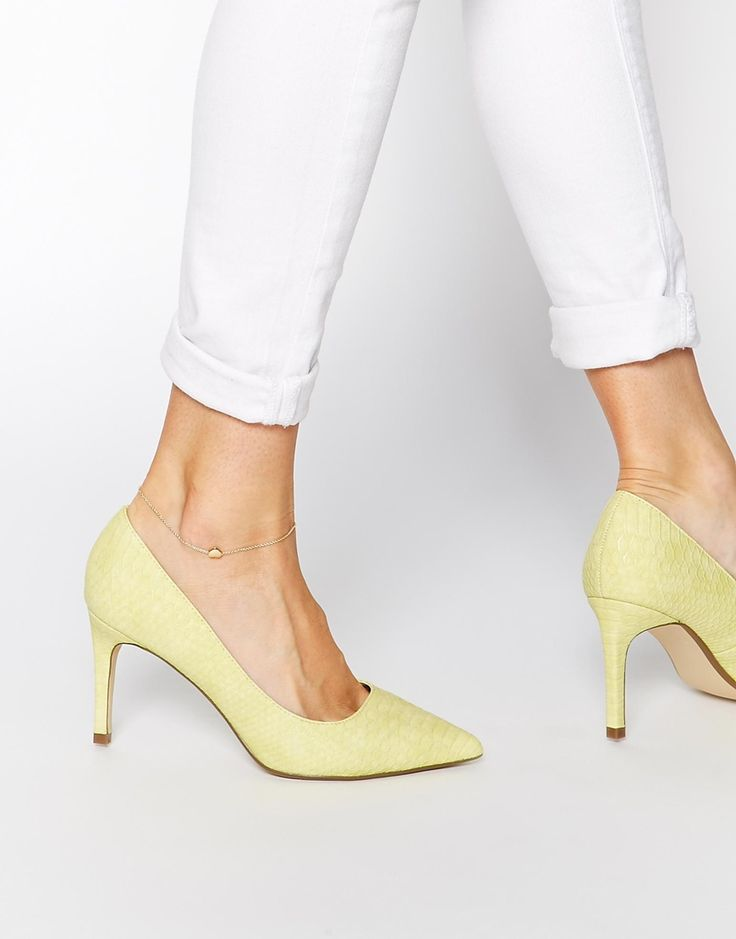 River Island Mid Heeled Yellow Court Shoes