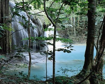 indonesia waterfall at moyo island