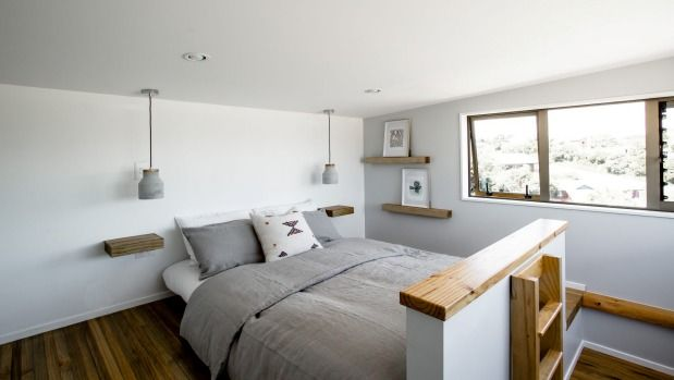 The loft bedroom has views in two directions.