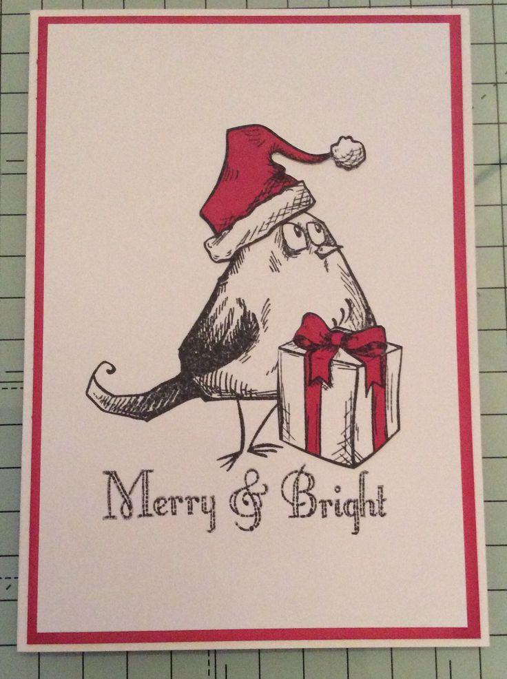 Simple crazy bird Christmas card - made by Carolyn 06/12/15
