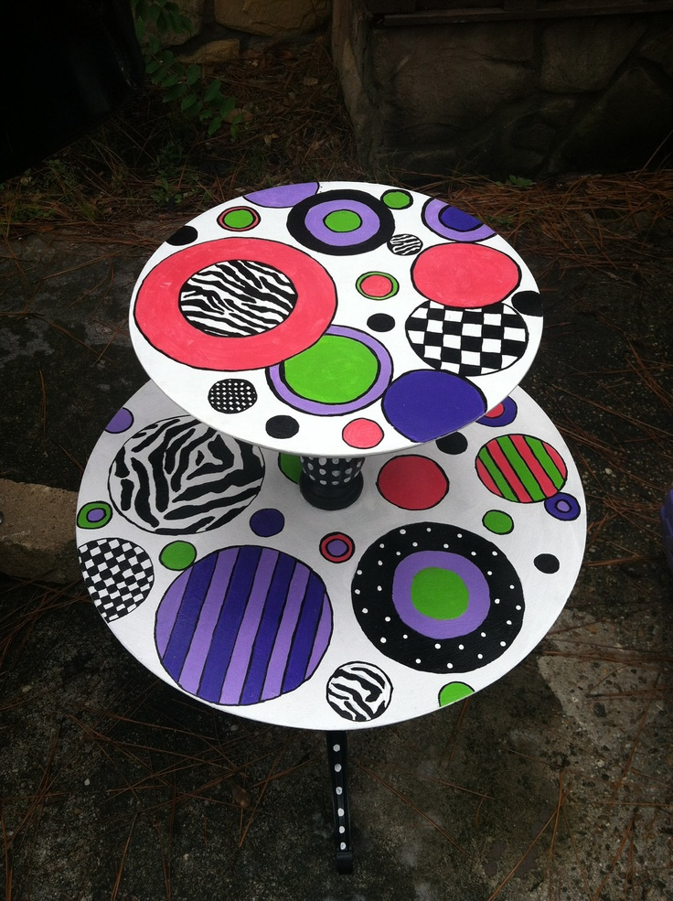 Vintage Whimsical Funky Hand Painted Wood Two Tier Round