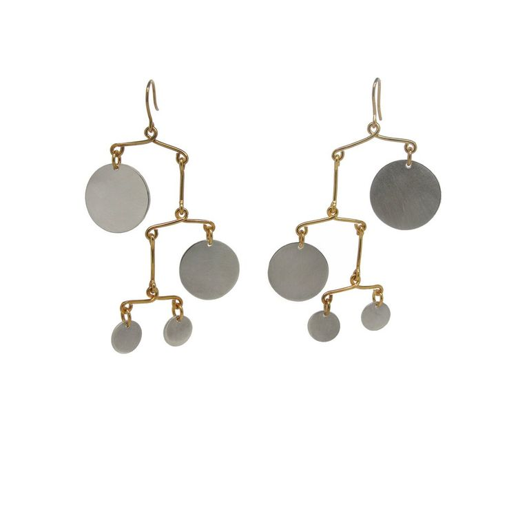Peggy 7 Statement Earrings Mobile Calder Inspired Silver And Vermeil