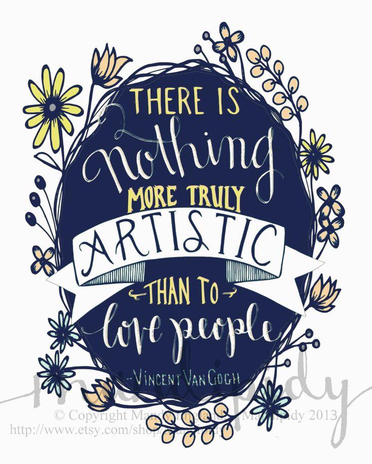 Love People Van Gogh Quote Vintage Typography 8x10 by Mandipidy, $17.50