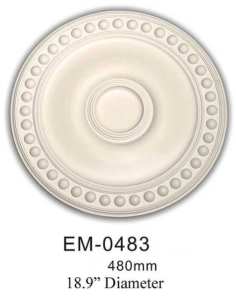 J1002-EM0483 Medallion-EM0483 Made of Polyurethane .Good for interior and exterior use .Waterproof , they wont absorb moisture or mildew . They are lightweight and easy to install and. pre-primed an