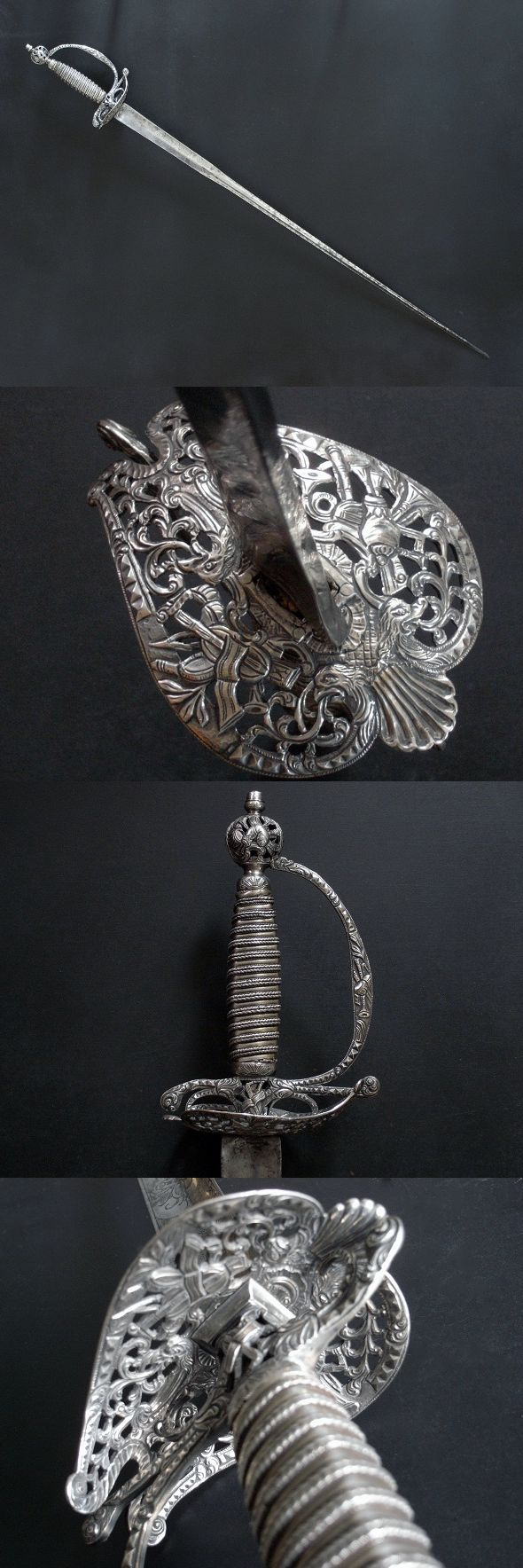 Must see.  Beautiful detail!  A remarkable 18th century English silver hilted small sword in good condition with hallmarks for London 1764/5. The maker is William Kinman, one of the foremost makers of silver hilted swords in London in the 18th century, and whose work represents the highest standards of English craftsmanship. https://darksword-armory.com/