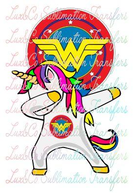 Dabbing Unicorn Wonder Woman Sublimation Transfer Wonder